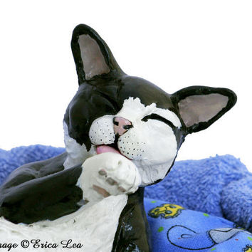 Tuxedo Cat Sculpture Polydactyl Cat Polymer Clay by NatureVisions