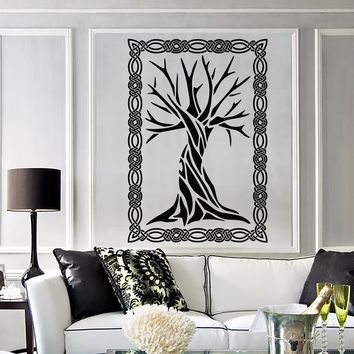 Vinyl Wall Decal Celtic Ancient Tree Art Ornament Frame Nature Stickers Unique Gift (2028ig)