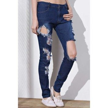 Cut Out Frayed Knee Jeans - Blue S