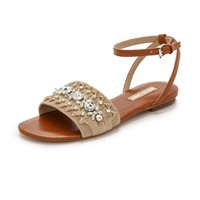 Michael Kors Collection Hadden Beaded Flat Sandals
