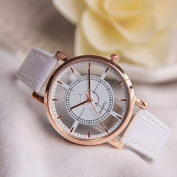 Minimalist Neutral Hollow Analog Watch for Women