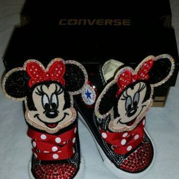 DCCKHD9 Girls Bling Custom Converse Sneakers- Minnie Mouse- Hello Kitty- Frozen- Emoji's- The