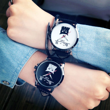 FUNIQUE Big Dial Couple Watch Men Women Lovely Cat Black White Clock Fashion&Casual Quartz Wrist Watches For Man And Woman