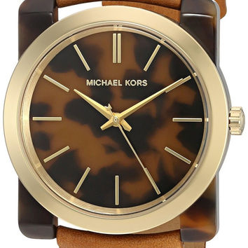 Michael Kors Women's Kempton Quartz Resin and Leather Casual Watch Color:Brow...