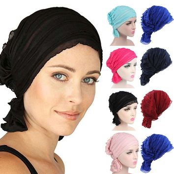Women Chiffon Ruffle Cancer Chemo Hat Beanie Scarf Turban Head Wrap Cap
