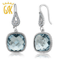 GemStoneKing Vintage 925 Sterling Silver Earrings For Women 11.00 Ctw Simulated Aquamarine Cushion Dangle Earrings