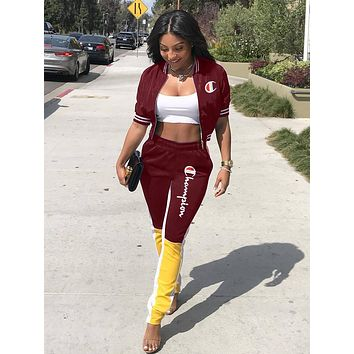 Champion Popular Women Casual Print Top Pants Trousers Set Two-Piece Sportswear Burgundy