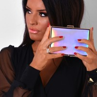 Crystalle Holographic Box Clutch Bag | Pink Boutique