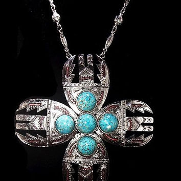 "Turquoise Pendant Necklace South Western Tribal NA Symbols Silver Plated HUGE 6"" Vintage 90s"