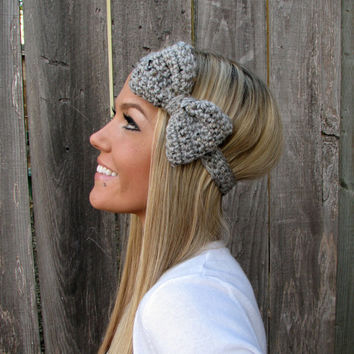 Grey Marble Bow Headband with Natural Vegan Coconut Shell Buttons - Adjustable
