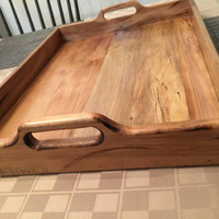 Antique walnut colored serving tray, reclaimed wood, craft furniture, handmade, pallet wood
