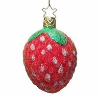 Inge-Glass Blown Glass Sugared Strawberry Christmas Ornament Made in Germany