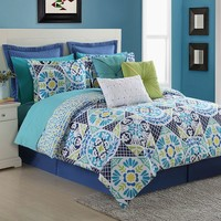 Fiesta Tile Reversible Comforter Set (Blue)