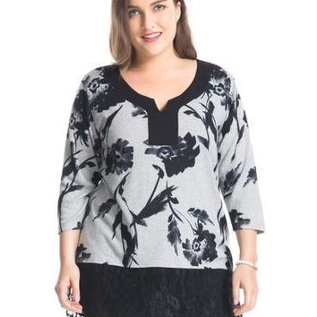 Women  Lace Plus Size Tunic Top Cashmere Touch
