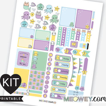 Under The Sea Weekly Kit Planner Printables Kawaii Valentines Stickers Erin Condren Cute Mermaid Octopus Ocean Digital Download Package Kits