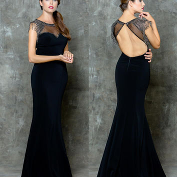GLOW G707 Black Beaded Sheer High Neckline Prom Evening Dress