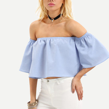 Blue Off The Shoulder Bell Sleeve Crop Blouse [6221394436]