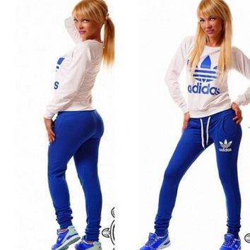 """adidas"" Fashion Letter Long Sleeve Shirt Sweater Pants Sweatpants Set Two-Piece Sportswear [11004758087]"