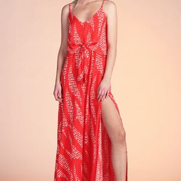 Women's Tie Front Printed Maxi Dress
