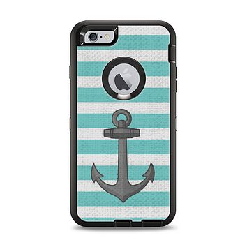 The Teal Stripes with Gray Nautical Anchor Apple iPhone 6 Plus Otterbox Defender Case Skin Set