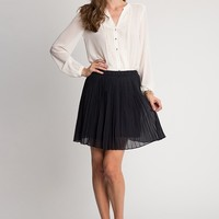 Emma Pleated Skirt In Navy | Ruche
