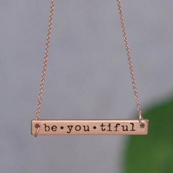 Be-you-tiful Bar Pendant Necklace