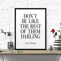 COCO CHANEL QUOTE Printable quotes coco chanel quote wall quote Girl Room Decor Chanel Wall Art dialist poster printable poster typography