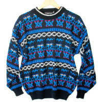 Vintage 80s Black & Blue Acrylic Ugly Ski Sweater - The Ugly Sweater Shop