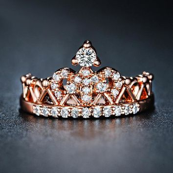 Shiny Jewelry New Arrival Gift Crown Stylish Simple Design Ring [132687298580]
