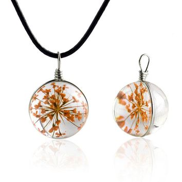 H:HYDE Glass bottle necklace Natural dandelion seed in glass long necklace Make A Wish Glass Bead Orb Necklace jewelry