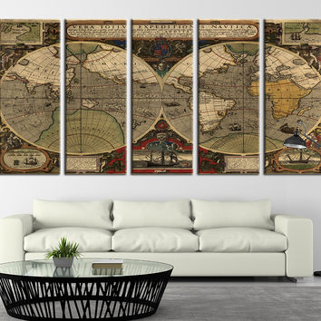 Ancient World Map Canvas Art Print, Vintage World Map Wall Decor No:089