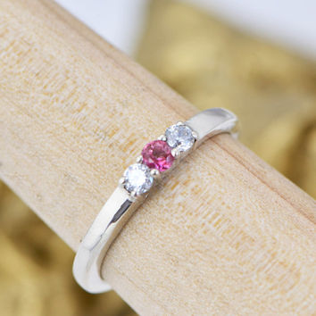 SALE Pink Gemstone Ring - Tourmaline - Friendship Ring - October Birthstone - Infinity Jewelry - October Jewelry -