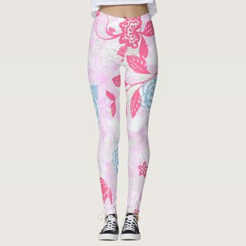 Cute colorful pastel floral pattern leggings