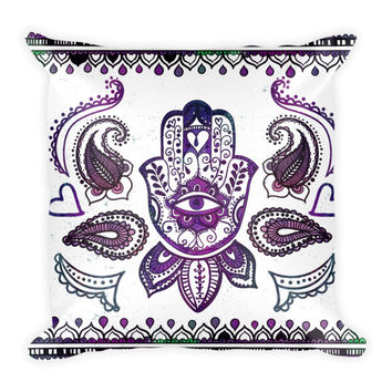 Hand Painted Fatimas Hand (Hamsa) Symbol & Boho Elements Pillowcase w/ stuffing