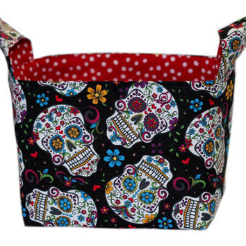 NEW Sugar Skulls Storage Bin | Bedroom Storage Basket | Desk Organizer | Day of the Dead | Skulls