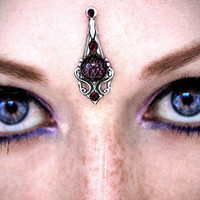 Purple Glitter Bindi, silver, dichroic glass, fantasy jewelry, forehead jewelry, gypsy, bellydance costume, tribal fusion, wicca, third eye