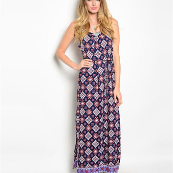 Twist and Shout Maxi Dress: Navy/Cream/Pink