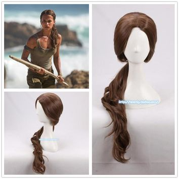Movie FilmTomb Raider Lara wig Women 70cm curly brown synthetic hair Alicia Vikander role play costumes halloween wig + wig cap