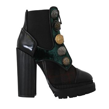 Dolce & Gabbana Black Green Leather Chelsea Boots