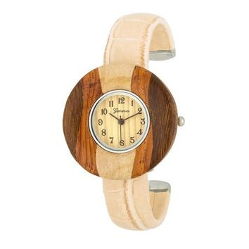 Brenna Wood Inspired Leather Cuff Watch - Beige & 2 more colors