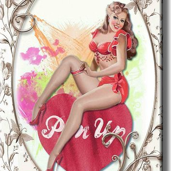 Vintage Pin Up Girl Sitting on Heart Picture on Acrylic , Wall Art Décor, Ready to Hang