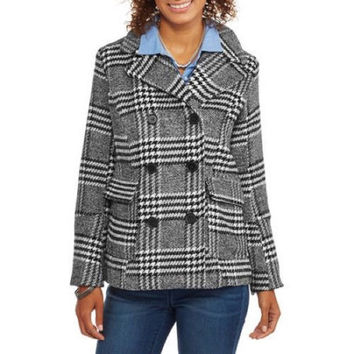 Maxwell Studio Women's Faux Wool Double-Breasted Peacoat, Herringbone, 2X