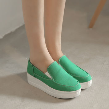 Casual Women Flats Platform Canvas Shoes Loafers