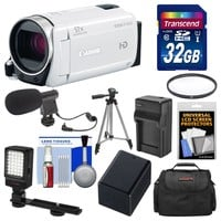 Canon Vixia HF R600 1080p HD Video Camcorder (White) with 32GB Card + Case + LED Light + Microphone + Battery & Charger + Tripod Kit