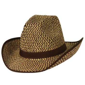 2-Tone Western Hat with Brown Trim & Band