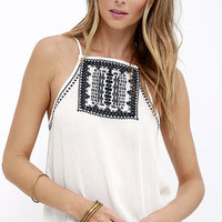 Machu Picchu Ivory Embroidered Top