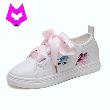 Woman White Shoes With Silk Ribbon Bows Women Shoes Tenis Feminino Rihanna Celebrity C