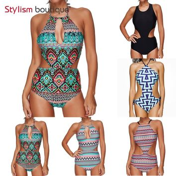 One Piece Swimsuit Sexy Cut Out Monokini Halter High Neck 2018 New Printed Swimwear Backless Bathing Swimming Suit for Women
