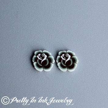 Black and Grey Vintage Tattoo Rose Post Earrings