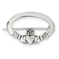 Sterling Silver Antiqued Claddagh Pin QP111
